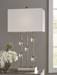 Jaala Clear with Silver Finish Metal Lamp