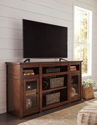 Harpan Reddish Brown XL TV Stand w with Fireplace Option