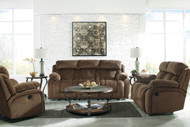 Stricklin Chocolate Reclining Power Sofa, Reclining Loveseat, Power Rocker Recliner, Volanta Cocktail Table & 2 End Tables