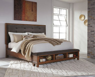 Ralene Medium Brown King Upholstered Panel Bed