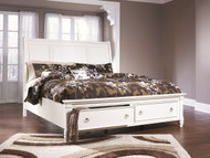 Prentice White California King Sleigh Storage Bed