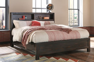 Parlone Dark Brown King Storage Headboard Bed