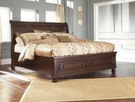 Porter Rustic Brown King Sleigh Storage Bed
