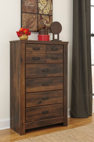 Quinden Dark Brown Five Drawer Chest