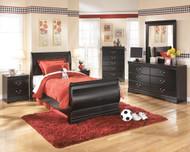 Huey Vineyard Black Twin Sleigh Bed