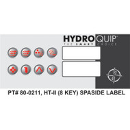 Hydroquip HT-2 Spaside Overlay Label Only, 8 Button, Part # 80-0211