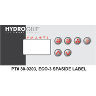 HydroQuip ECO-3 Decal Overlay Only, Part # 80-0203