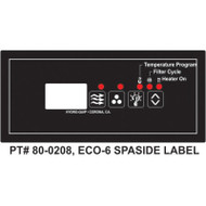 Hydroquip Eco-6 Spaside Overlay Label, Part # 80-0208