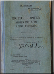 Bristol Jupiter Series VIII & IX Aircraft Engine Maintenance Manual  ( English Language )