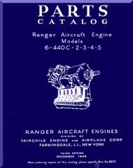 Ranger 6-440 C -2 -3 -4 -5   Aircraft Engine  Parts Catalog Manual  ( English Language )