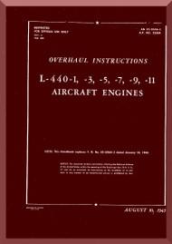 Ranger L-440 C -1 -3 -5  -7 -9 -11 Aircraft Engine  Overhaul Manual  ( English Language )
