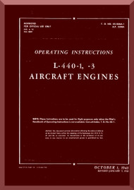 Ranger L-440 C -1 -3  Aircraft Engine  Operating  Manual  ( English Language )