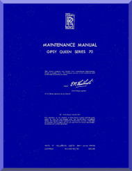 De Havilland  Gipsy Queen 70 Aircraft Maintenance Manual  ( English Language )