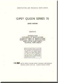 De Havilland  Gipsy Queen 70 Aircraft Modification and Technical News Sheets Manual  ( English Language )