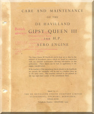 De Havilland  Gipsy Queen III 200 H.P. Aircraft Maintenance Manual  ( English Language )