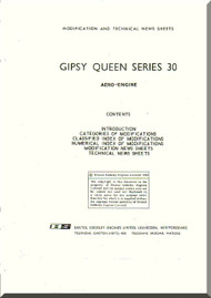 De Havilland  Gipsy Queen 30 Aircraft Modification and Technical News Sheets Manual  ( English Language )
