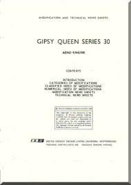 De Havilland  Gipsy Queen 30 Aircraft Modification and Technical News Sheets Manual  ( English Language )