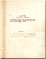 De Havilland  Gyron  Junior Aircraft Jet Engine Maintenance  Handbook Manual  ( English Language )