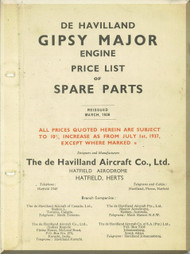 De Havilland  Gipsy Major Aircraft Price list of Spare Parts Manual  ( English Language )
