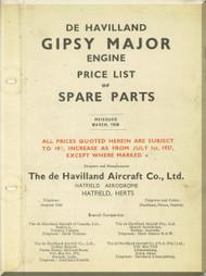 De Havilland  Gipsy Major Aircraft Price list of Spare Parts Manual  ( English Language )