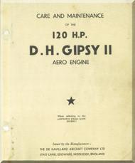 De Havilland  Gipsy II  Aircraft Engine Care and  Maintenance Manual  ( English Language )