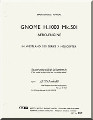 De Havilland  Gnome H. 1000 Mk. 501 Aircraft Engine Maintenance Manual  ( English Language )