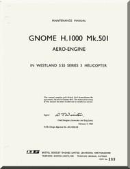 De Havilland  Gnome H. 1000 Mk. 501 Aircraft Engine Maintenance Manual  ( English Language )