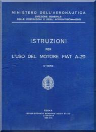 FIAT Motori  A.20 Aircraft Engine Instruction  Manual,    ( Italian Language )