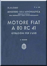 FIAT Motori  A.80 Aircraft Engine Instruction  Manual,    ( Italian Language )