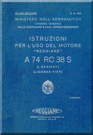 FIAT Motori  A.74 RC 38 S Aircraft Engine Instruction  Manual,    ( Italian Language )