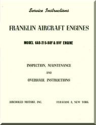 Franklin 6A8-215-B8F Aircraft Engine  Service Instruction   Manual  ( English Language )