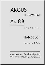 ARGUS  Flugmotor As 8 B   Aircraft Engine Handbook  Manual  ( German Language ) Handbuch -1937