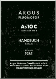 ARGUS  Flugmotor As 10 C   Aircraft Engine Handbook  Manual  ( German Language ) Handbuch -1935