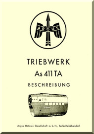 ARGUS  Flugmotor As 411   Aircraft Engine Hydraulic  Manual - As 411 TA Triebwerk Beschreibung  ( German Language )