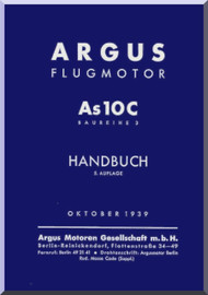 ARGUS  Flugmotor As 10 C   Aircraft Engine Handbook  Manual  ( German Language ) Handbuch -1939