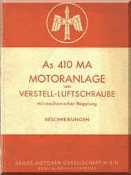 ARGUS As 410 Ma Verstell - Luftschraube  Aircraft Engine Manual Beschreibungen ( German Language )