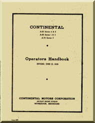 Continental A50 , A65, A75 and A80  Aircraft Engine Operator's Manual  ( English Language ) 1939