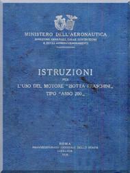 "Isotta Fraschini "" Asso 200 "" Aircraft Engine Technical  Manual,    ( Italian Language )"