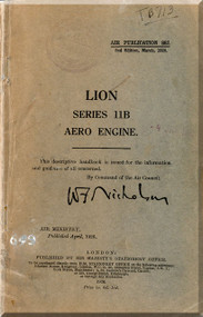 Napier Lion Series 11 B   Aircraft Engine Maintenance Manual  ( English Language )