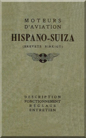 Hispano Suiza 8 150 Aircraft Engine Maintenance Manual Instruction Book  ( French Language )