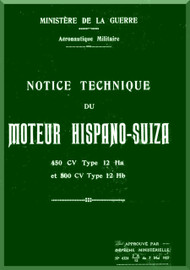 Hispano Suiza 12 Ha 450  Hb 500 Aircraft Engine Technical Manual Instruction Book  ( French Language )