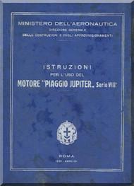 PIAGGIO Jupiter Series VIII Aircraft Engine Technical  Manual,    ( Italian Language )