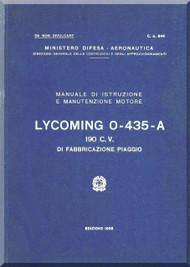 PIAGGIO  Lycoming O-435-A  Aircraft Engine Technical  Manual,    ( Italian Language )
