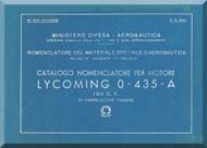 PIAGGIO  Lycoming O-435-A  Aircraft Engine Parts Catalog  Manual,    ( Italian Language )