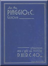 PIAGGIO  P XI RC 40 Aircraft Engine Technical  Manual,    ( Italian Language )