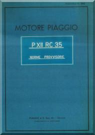 PIAGGIO  P XII RC 35 Aircraft Engine Technical  Manual,    ( Italian Language )