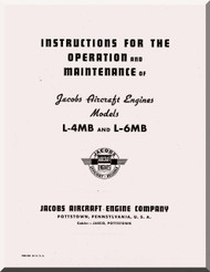 Jacobs L-4,  L-5  MB  Aircraft Engine Instruction Operation and Maintenance Manual  ( English Language )