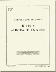 Kinner R-540 Aircraft Engine Service Instruction Manual  ( English Language )