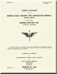 Kinner R-540 -1 Aircraft Engine Parts Catalog Manual  ( English Language )