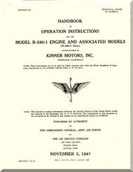 Kinner R-540 -1 Aircraft Engine Operating Manual  ( English Language )
